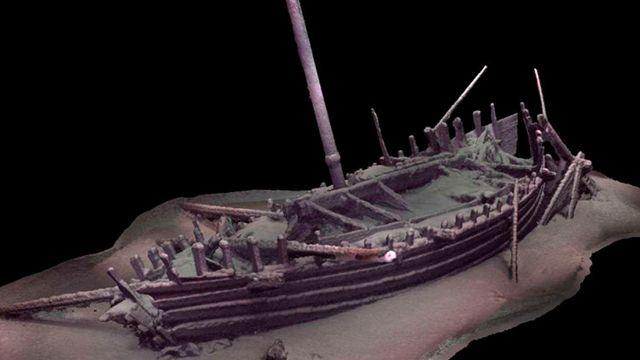 Modelo fotogramétrico preliminar del barco romano en estado prístino.