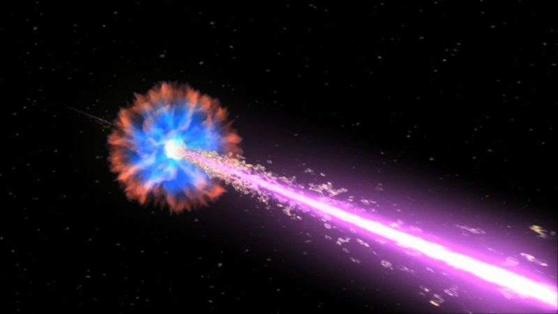 Representación de una explosión de rayos gamma