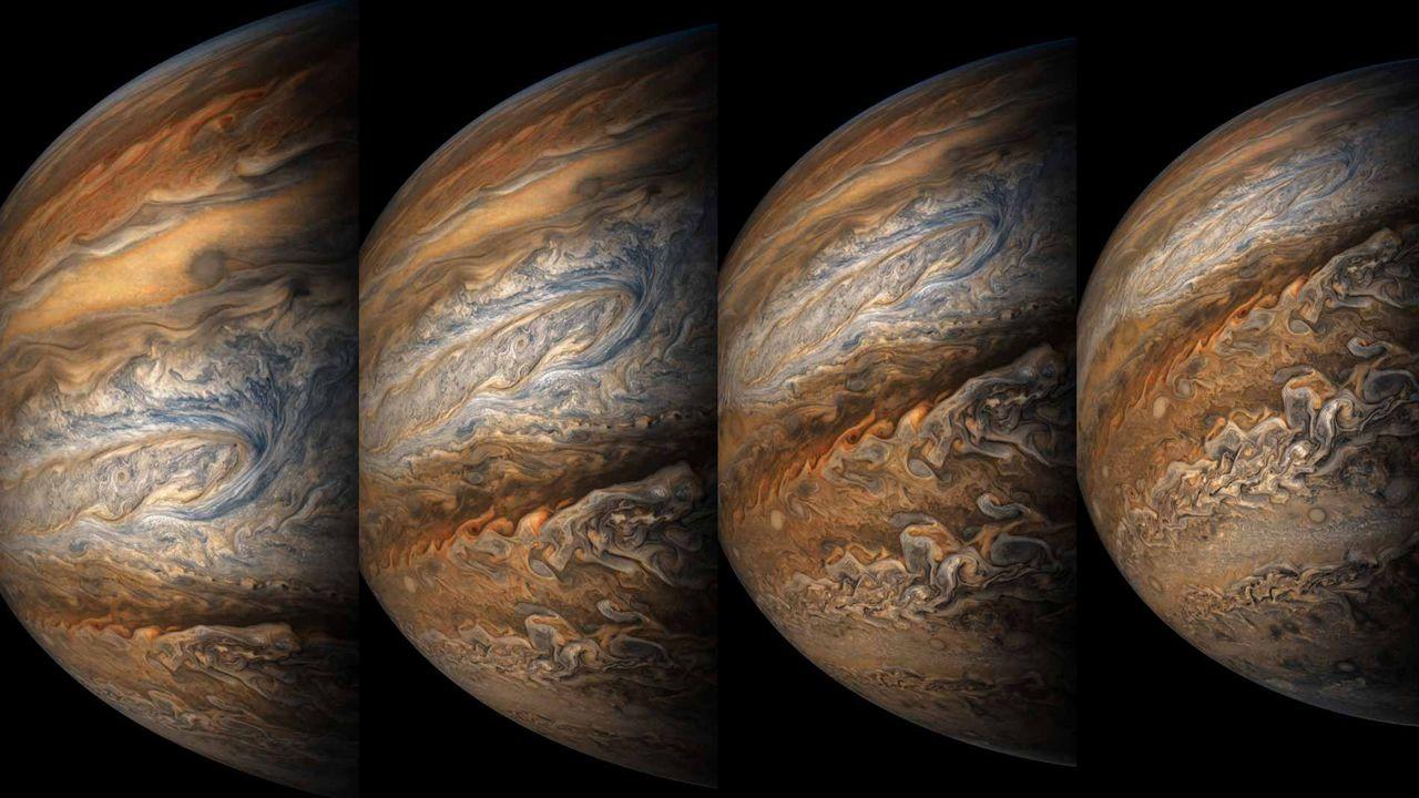 Sonda espacial Juno captura impresionantes imágenes de tormentas en Júpiter