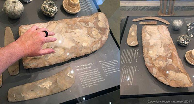 Cuchillo de sílex de gran tamaño expuesto en el Museo Ashmolean. En su descripción se puede leer que su uso era «ceremonial»