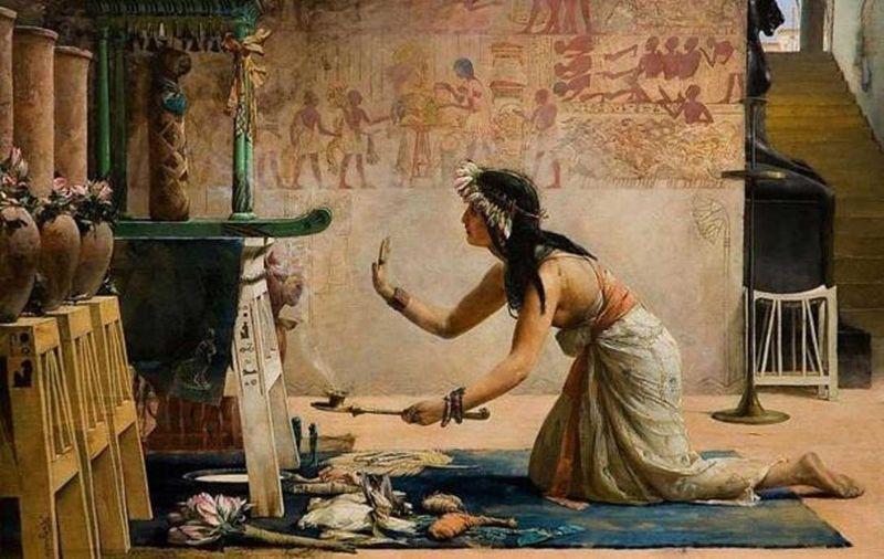 «Exequias de un gato egipcio», óleo de John Reinhard Weguelin, 1886. Una sacerdotisa egipcia realiza ofrendas de alimentos y leche al espíritu de un gato.