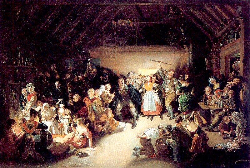 Los emigrantes irlandeses popularizaron la celebración de Halloween en los Estados Unidos. Óleo de Daniel Maclise (1833), basado en una fiesta de Halloween a la que asistió en Blarney, Irlanda, en 1832.