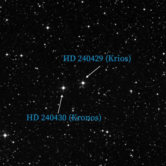 Estrellas HD 240430 y HD 240429, mejor conocidos como Kronos y Krios, tal como aparecen en la Digitalized Sky Survey del Instituto de Ciencia del Telescopio Espacial