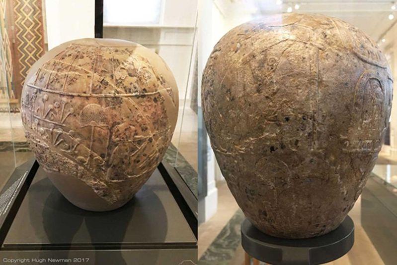 Mazas de piedra caliza, versiones gigantescas de las pequeñas armas de piedra que eran ajuar funerario típico durante el Período predinástico. Se convirtieron en símbolos de la élite egipcia en torno al 3100 a. C.