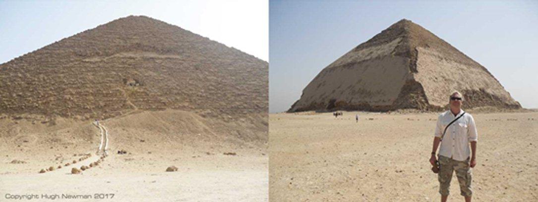 Izquierda: Pirámide Roja de Dahshur. Derecha: El autor del artículo ante la Pirámide Acodada de Dahshur.