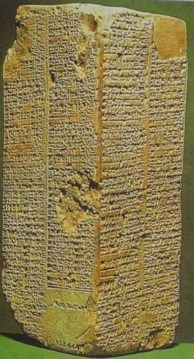 Tablilla de piedra inscrita con la Lista de los Reyes Sumerios