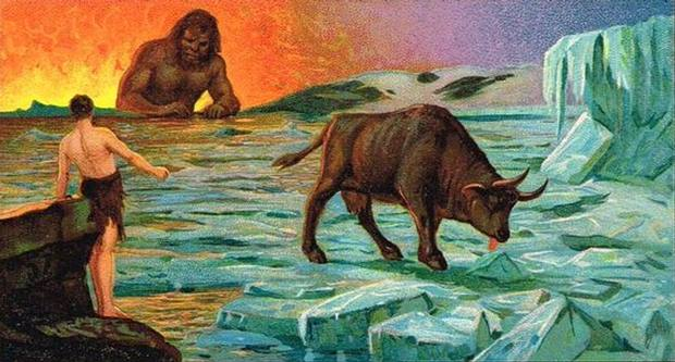 El gigante Ymir; la vaca Auðumbla; y Buri, el primer dios de la mitología nórdica