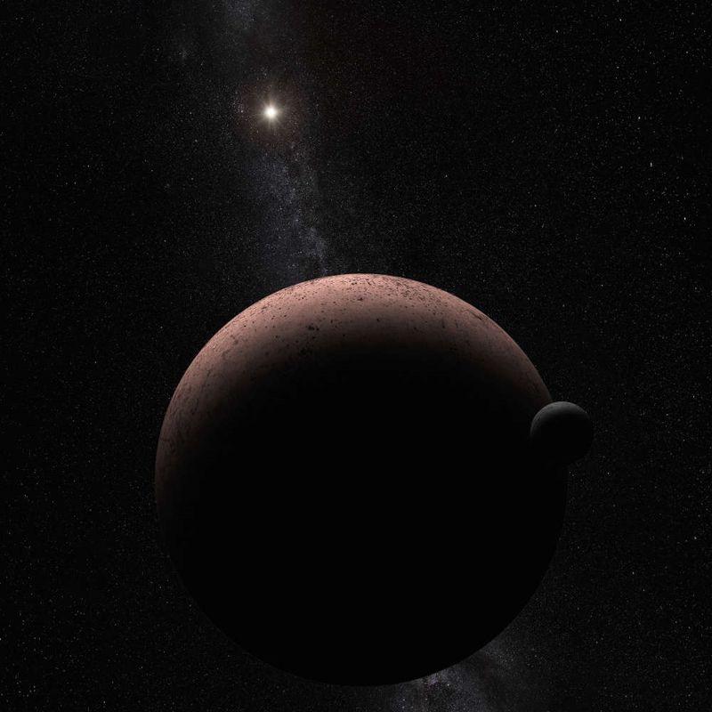 Representación artística de Makemake y su luna MK2. Descubierto alrededor de la época de Pascua en 2005, los astrónomos lo nombraron así debido a la deidad Rapa Nui de la Isla de Pascua