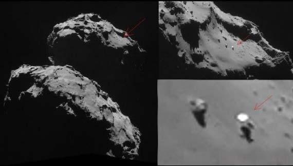 Detalle de la ubicación del misterioso objeto en el cometa 67P. ¿Podría tratarse de un lurkers?