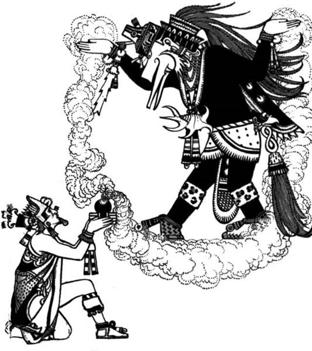 Montezuma ofrece incienso a Quetzalcóatl