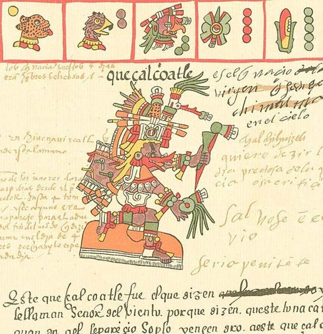 El dios Azteca Quetzalcóatl tal y como aparece representado en el Códice Telleriano-Remensis (siglo XVI)