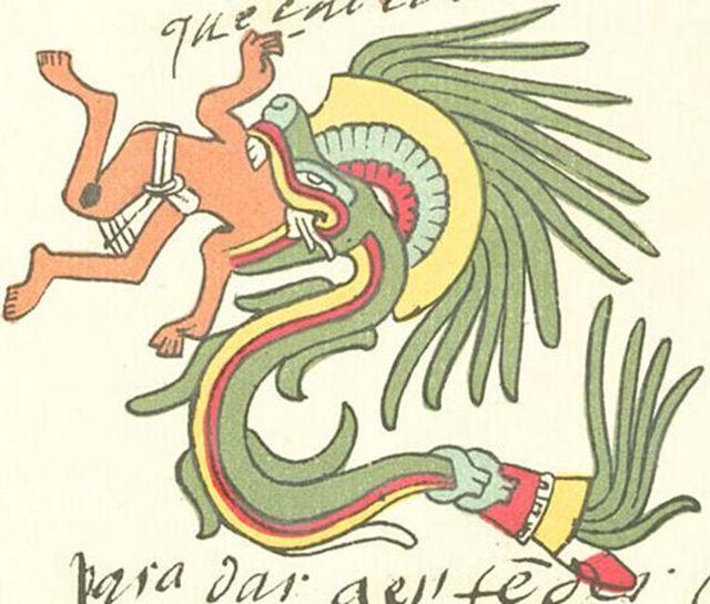 Quetzalcóatl bajo la forma de serpiente emplumada, tal y como aparece representado en el Códice Telleriano-Remensis.