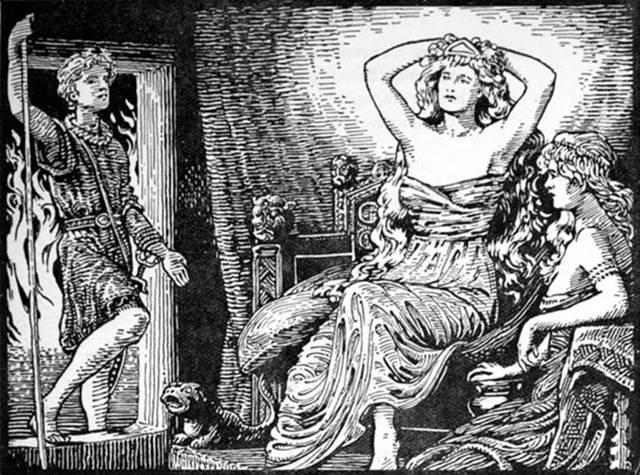 Skirnir comunica a Gerd el mensaje de Freyr (1908), ilustración de W. G. Collingwood