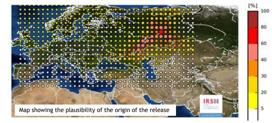 Este mapa muestra las ubicaciones más probables para la fuente de la nube radiactiva
