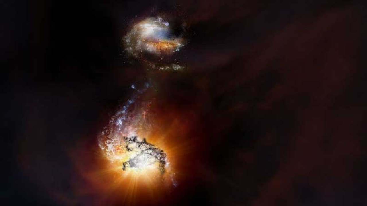 Astrónomos observan fusión de galaxias de hace 12.000 años (Vídeo)