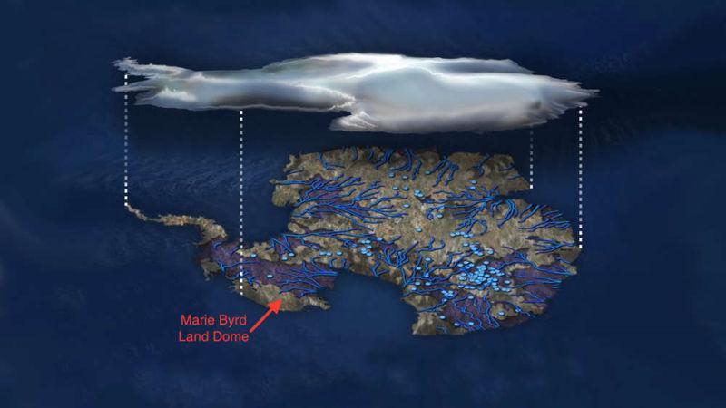 La ubicación de la pluma bajo el manto de hielo de la Antártida
