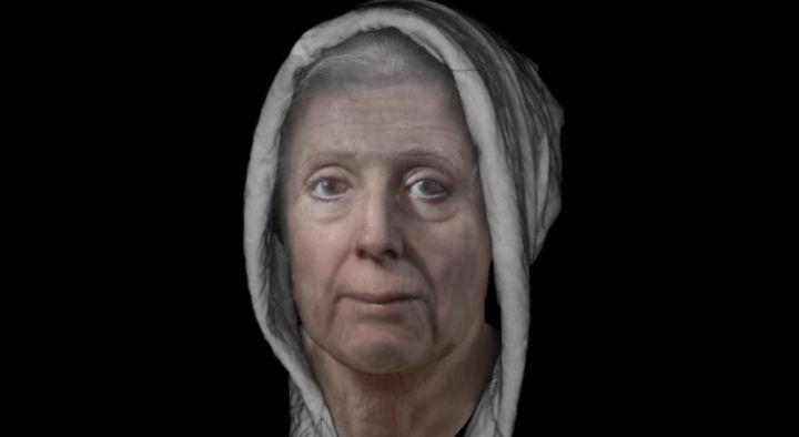 Reconstrucción del rostro de Lilias Adie, una mujer acusada de brujería