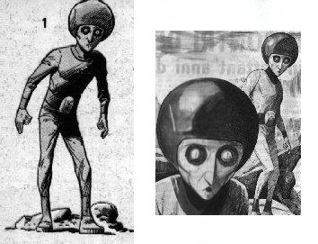 Representación de posibles extraterrestres vistos