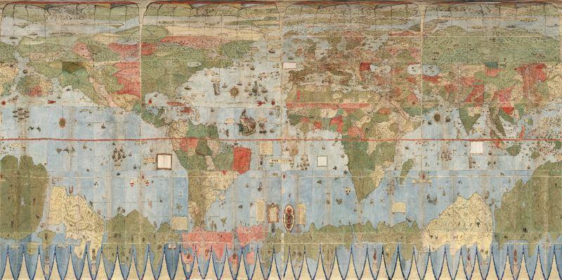 Mapa de todo el mundo. Noten la precisión representada en el siglo XVI