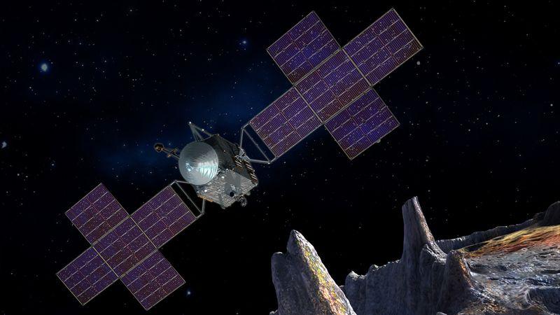 Concepto del artista de la nave espacial Psyche, que conducirá una exploración directa de un asteroide que se cree que es un núcleo planetario despojado