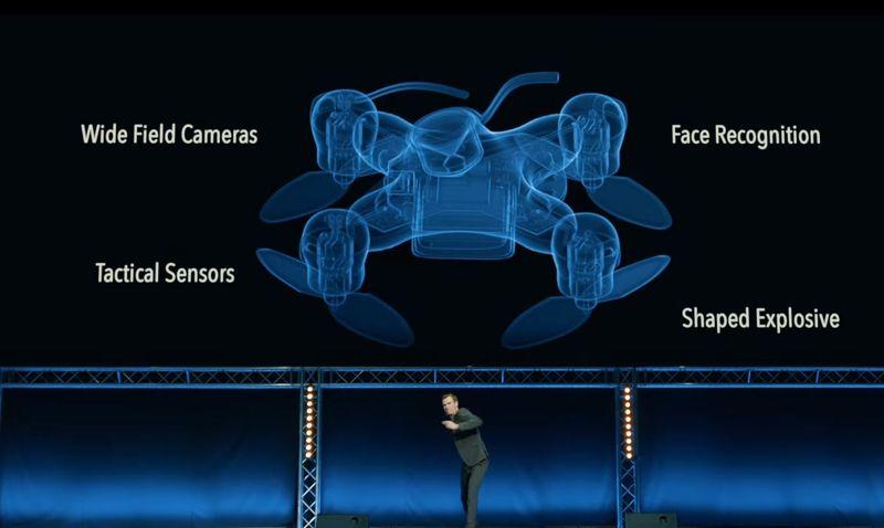 Drone equipado con sensores de movimiento, cámaras, reconocimiento de rostros y explosivos.