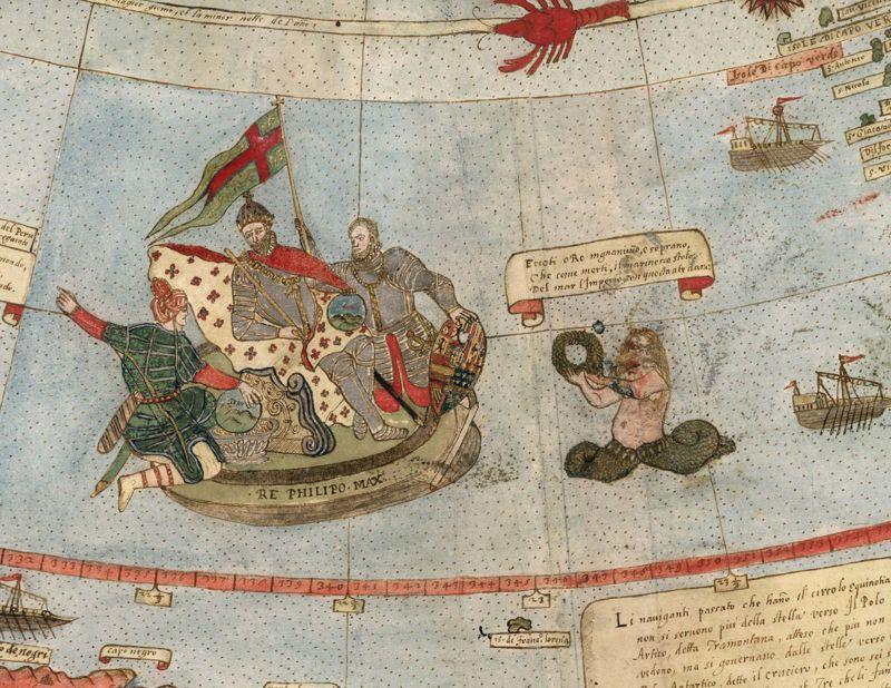 El Rey de España está representado en una parte del mapa, cerca de la costa de Brasil. Parece que su tripulación no se ha dado cuenta de que el tritón con el que están en curso de colisión.