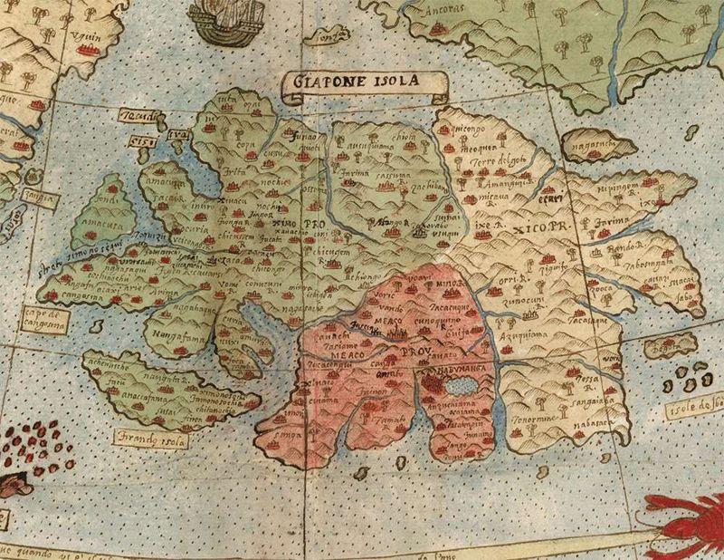 Japón incluye nombres de lugares que no estaban incluidos en la mayoría de los mapas europeos en ese momento