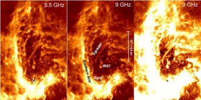 Imagen del centro galáctico en diferentes frecuencias de radio-ondas. El filamento se señala como SgrAWF. Debajo, se indica con una cruz la posición del agujero negro central SgrA*