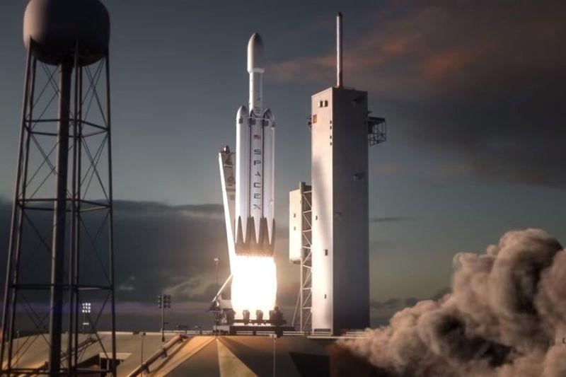 Representación de lanzamiento de cohete Falcon Heavy