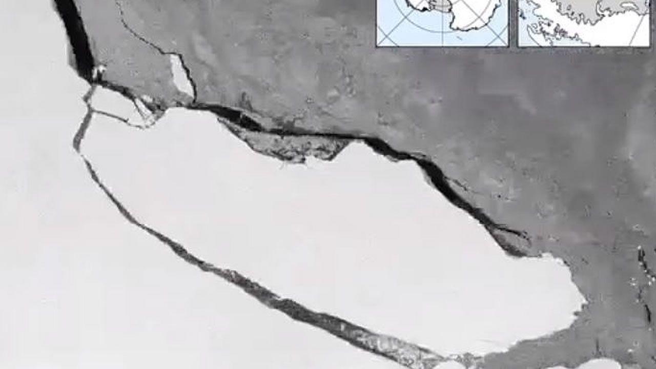 Timelapse muestra la ruptura de un gigantesco iceberg en la Antártida