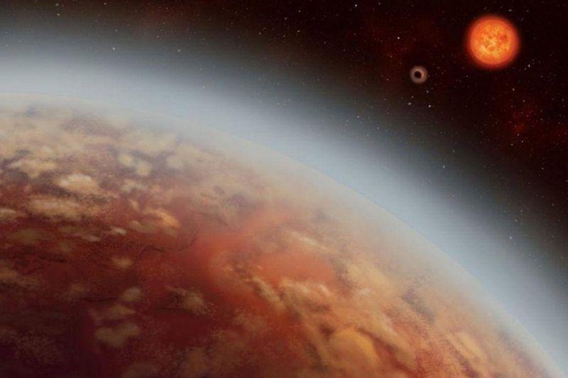 Ilustración artística del planeta K2-18b, su estrella K2-18 y el segundo planeta K2-18c