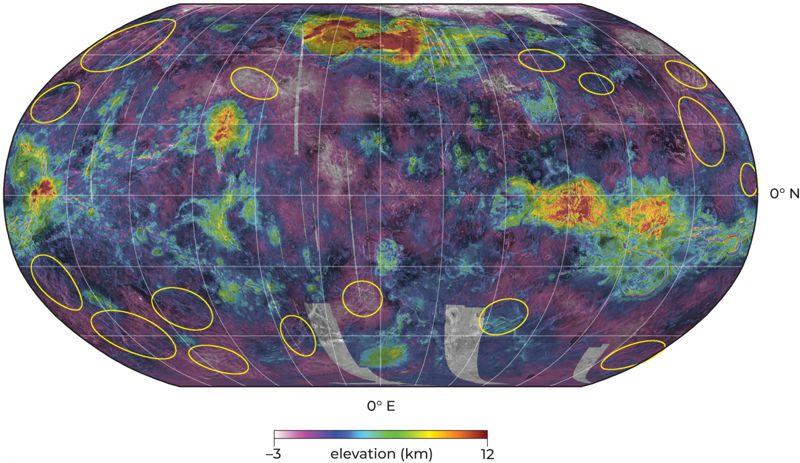 En este mapa de la superficie de Venus, los círculos muestran dónde el equipo cree haber visto movimiento de roca