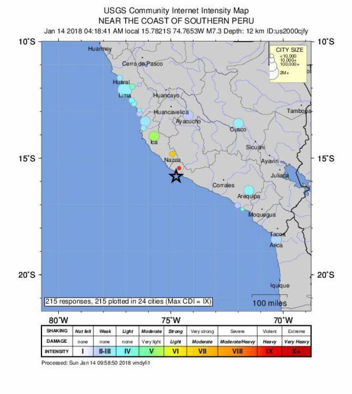 Localización del sismo facilitada por el Servicio Geológico de Estados Unidos (USGS sus siglas en inglés)