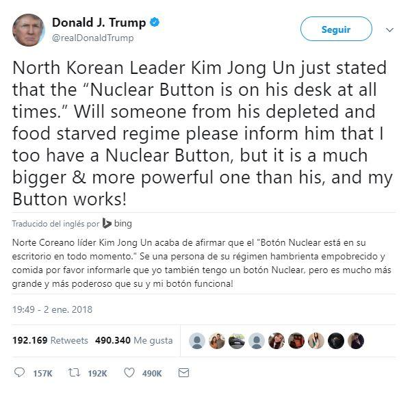 Una clara amenaza nuclear del presidente Trump contra Corea del Norte. Lo peor son los cientos de miles a los que les encantó este tweet