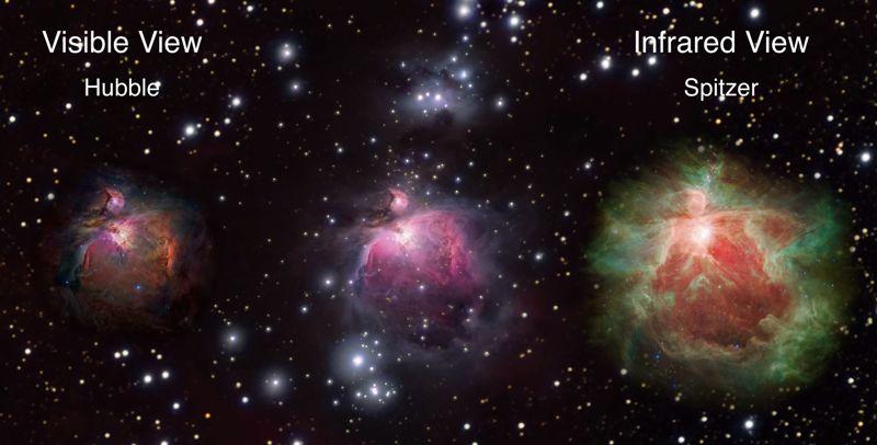 La tecnología infrarroja permite ver lo que se 'oculta' a nuestros ojos en la Nebulosa de Orión