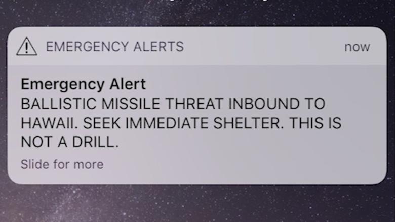 La alerta decía que un misil se dirigía a Hawaii, resultó ser una falsa alarma.
