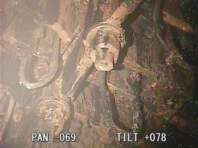 El combustible escapó roto a través de la base del núcleo del reactor