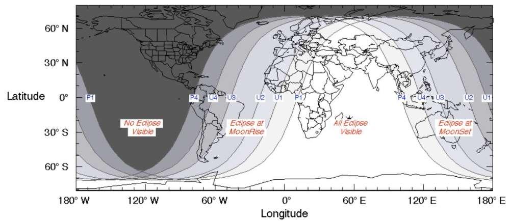 La visibilidad del eclipse lunar total el 27 de julio