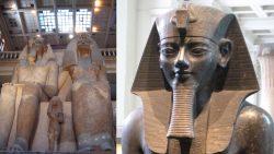 Encuentran el pie de la estatua de un Faraón en un estacionamiento