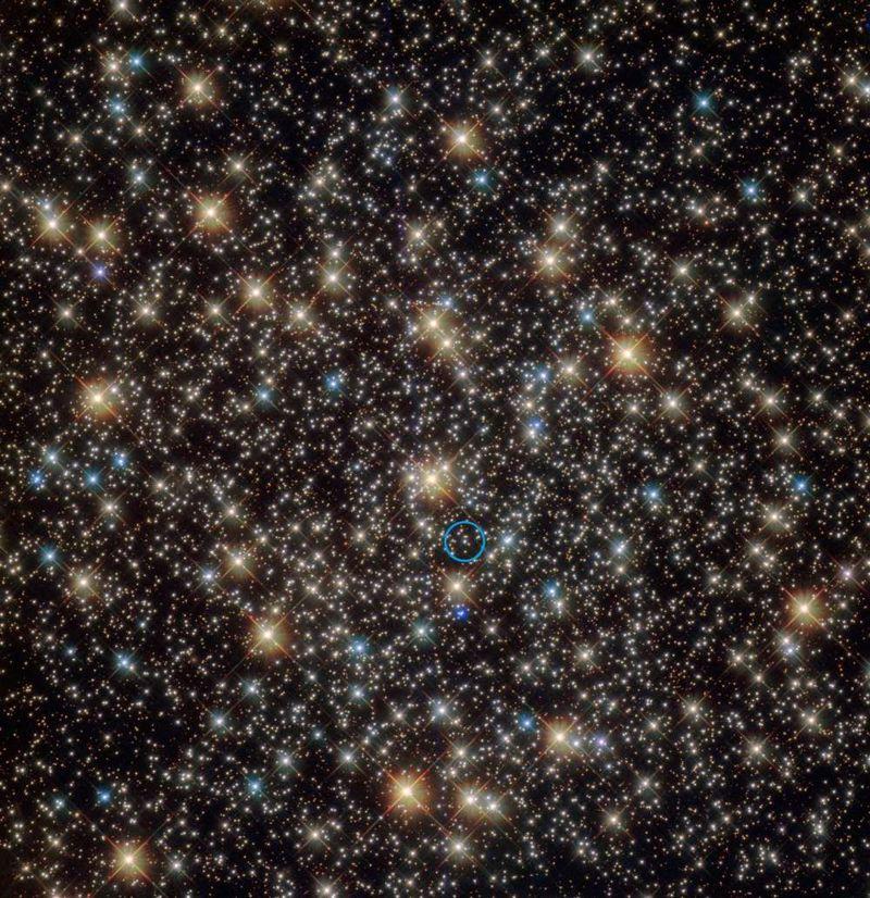 La estrella tirada por el agujero negro está rodeada de un círculo en azul en esta imagen del Hubble de NGC 3201