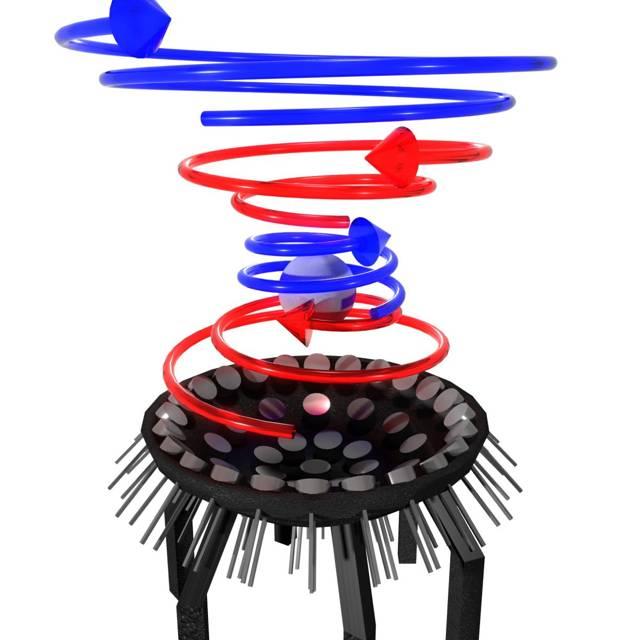 El concepto de un rayo tractor acústico levitando un objeto esférico