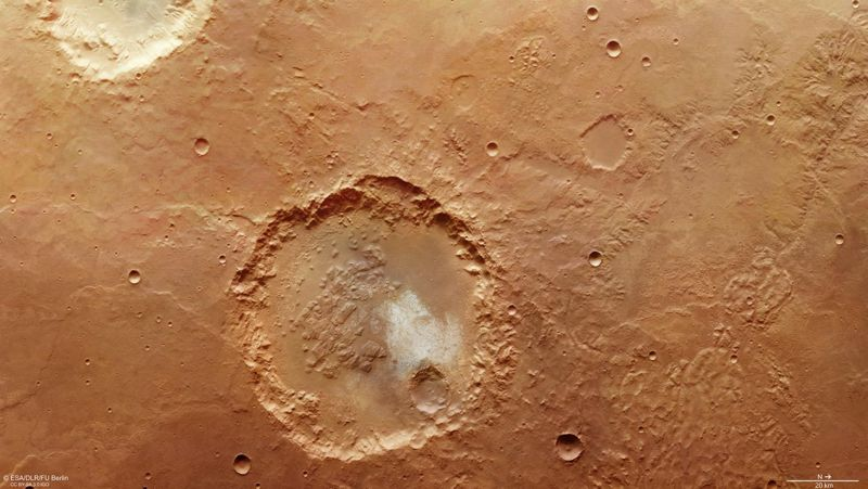 Marte esconde grandes depósitos de hielo bajo su superficie.