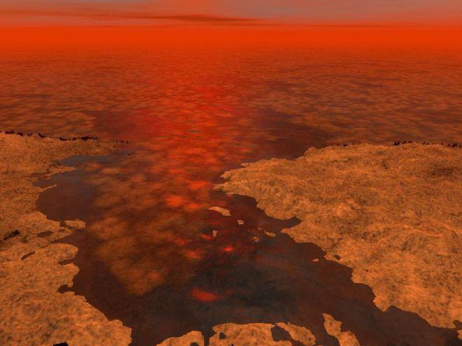 Representación artística de cómo se verían los mares de hidrocarburos en Titán, con icebergs supercongelados