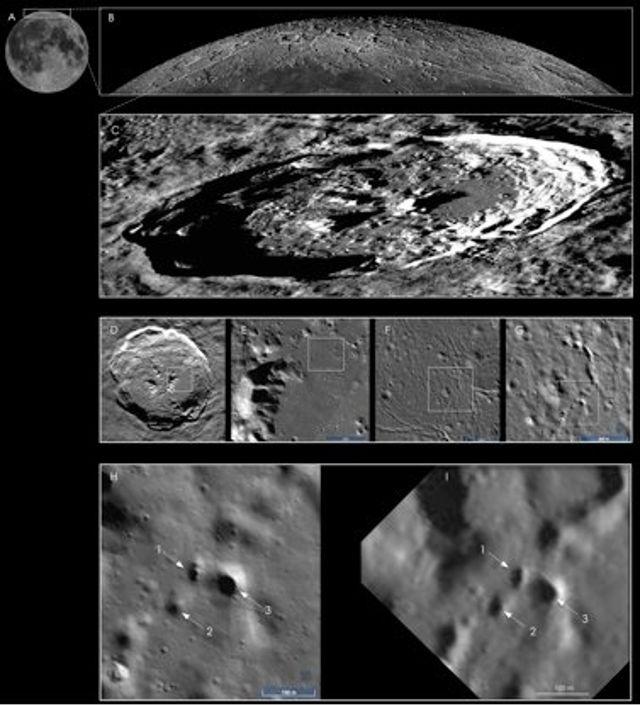 Esta imagen muestra la ubicación de algunos de los posibles tubos de lava en el cráter Philolaus en el polo norte dela Luna