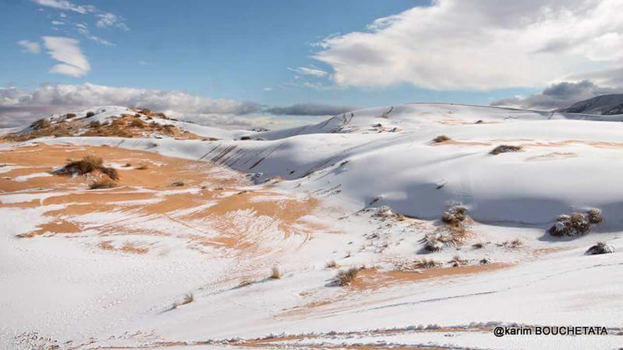 Desierto del Sahara se cubre de nieve por segunda vez