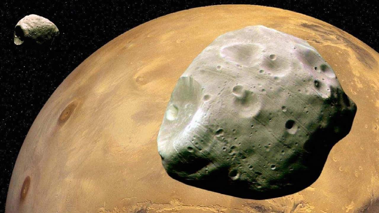 Impresionante fotografía de las lunas de Marte, una frente a otra