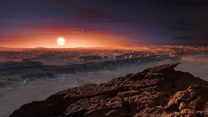 Representación artística de Proxima B, un exoplaneta que orbita dentro de la zona habitable de la estrella enana roja Próxima Centauri