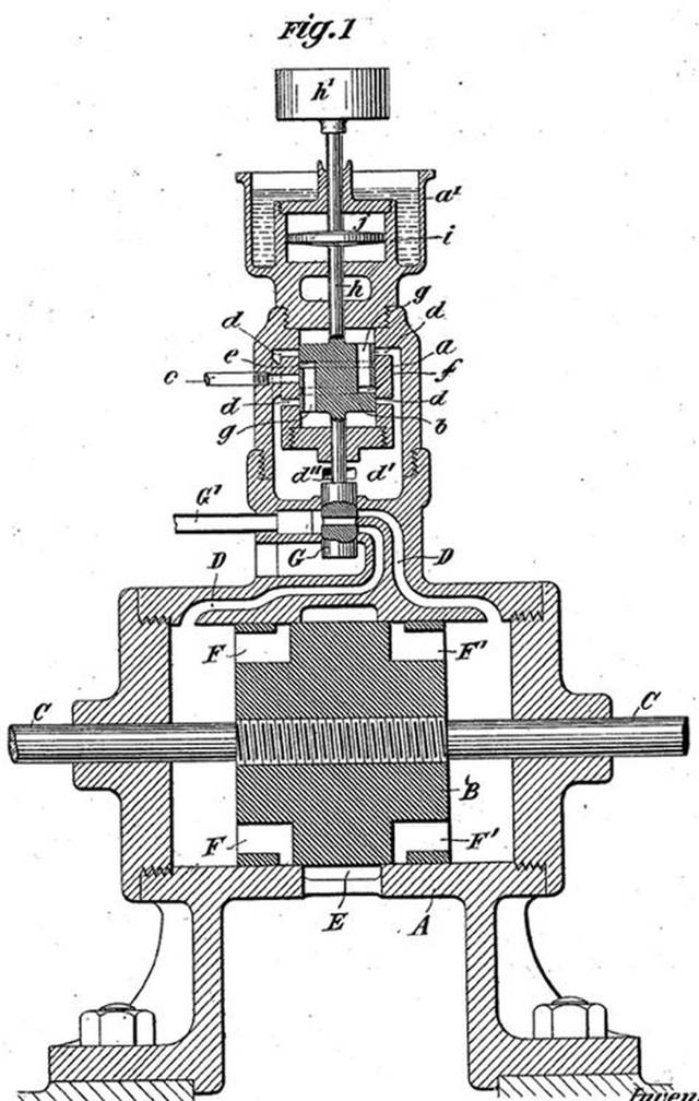 Generador u oscilador eléctrico a vapor de Tesla. El dispositivo estaba destinado a producir energía eléctrica, pero también podría modificarse para generar vibraciones mecánicas