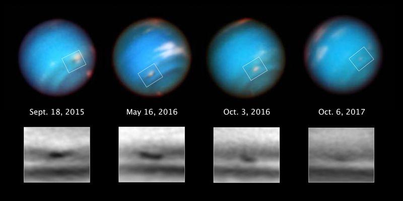 Imágenes de Hubble que muestran cómo la tormenta se redujo desde 2015