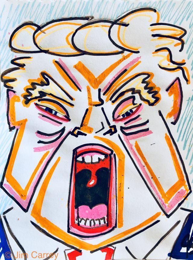 «... y los ciegos verán y los cojos caminarán y los tramposos heredarán la tierra!», tituló Jim Carrey a esta pintura, representando al presidente de EE.UU. Donald Trump